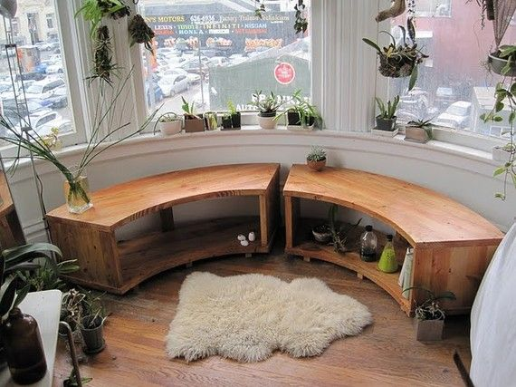 Curved Bay Window Bench Recycled Douglas Fir by jeremiahcollection, $1800.00