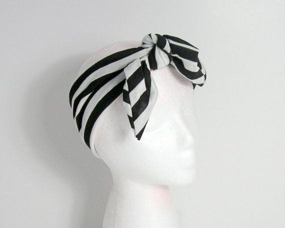 Black and White Striped Hair Scarf Black and White Boho Head Wraps Jersey Neck S...   - Hairstyle Boho Girls - #Black #boho #girls #Hair #hairstyle