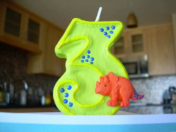 Dinosaur Birthday Candle Blue