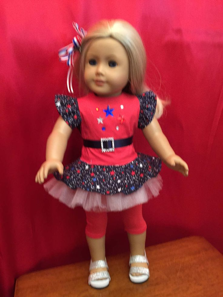 Homemade Doll Clothes For 18 Inch Dolls Like American Girl Doll: Sale Includes Patriotic Dress And Capris by CutzieDollFashions on Etsy