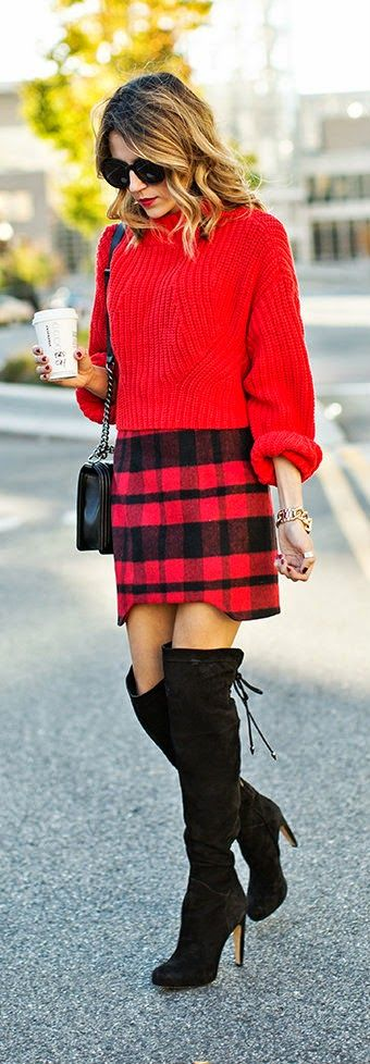 Daily New Fashion : RED AND TARTAN - red cropped sweater with red tartan skirt and black over the knee boots / Hello Fashion