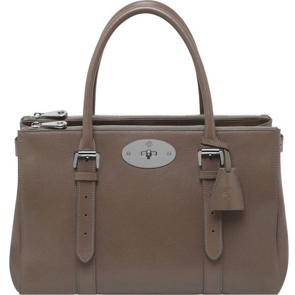 MULBERRY Bayswater Double Zip tote (€2.085) ❤ liked on Polyvore featuring bags, handbags, tote bags, taupe, brown leather handbags, taupe leather handbag, brown tote, leather tote bags and leather handbags