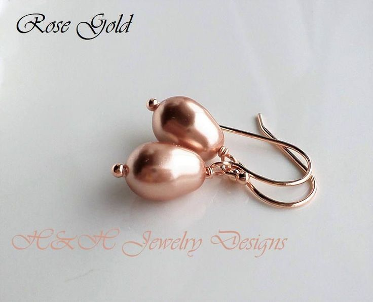 Rose Gold Pearl Earrings, Swarovski Rose Gold Pear Pearl Drop Dangle Earrings, Rose Gold Jewelry, Bridal Party Rose Gold Earrings Jewelry by hhjewelrydesigns on Etsy #rosegoldwedding #rosegoldearrings #pearlearrings #bridetobe #bridalpartyearrings #pearls