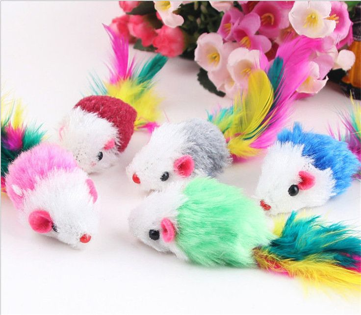 awesome 5PCS Funny Cute Mouse Pet Cat Kitten Training Play Toy Furry Mice Pet Supplies