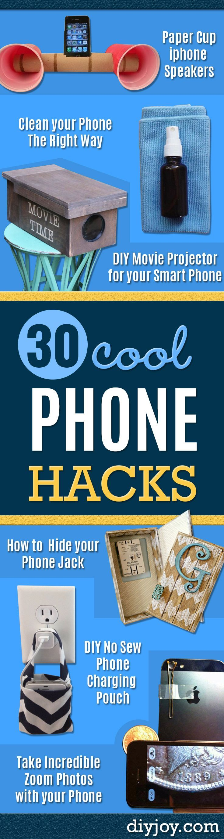 DIY Phone Hacks - Cool Tips and Tricks for Phones, Headphones and iPhone How To - Make Speakers, Change Settings, Know Secrets You Can Do With Your Phone By Learning This Cool Stuff - DIY Projects and Crafts for Men and Women http://diyjoy.com/diy-iphone-hacks