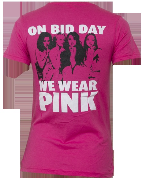 """""""...and on Bid Day, we wear pink."""" Ha! I don't understand why anyone would want to have a Mean Girls reference on a Bid Day shirt, that would scare me away, but it's funny!"""