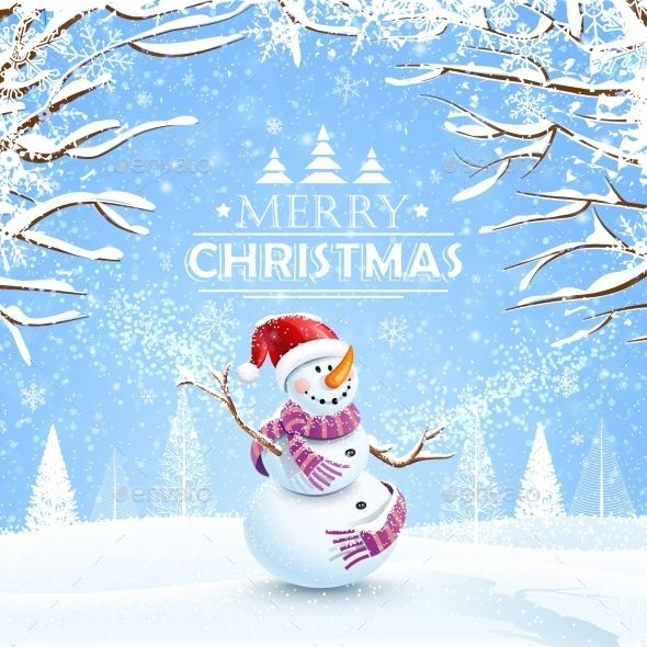 Christmas Background with Snowman Vector EPS #design Download: http://graphicriver.net/item/christmas-background-with-snowman/9819220?ref=ksioks