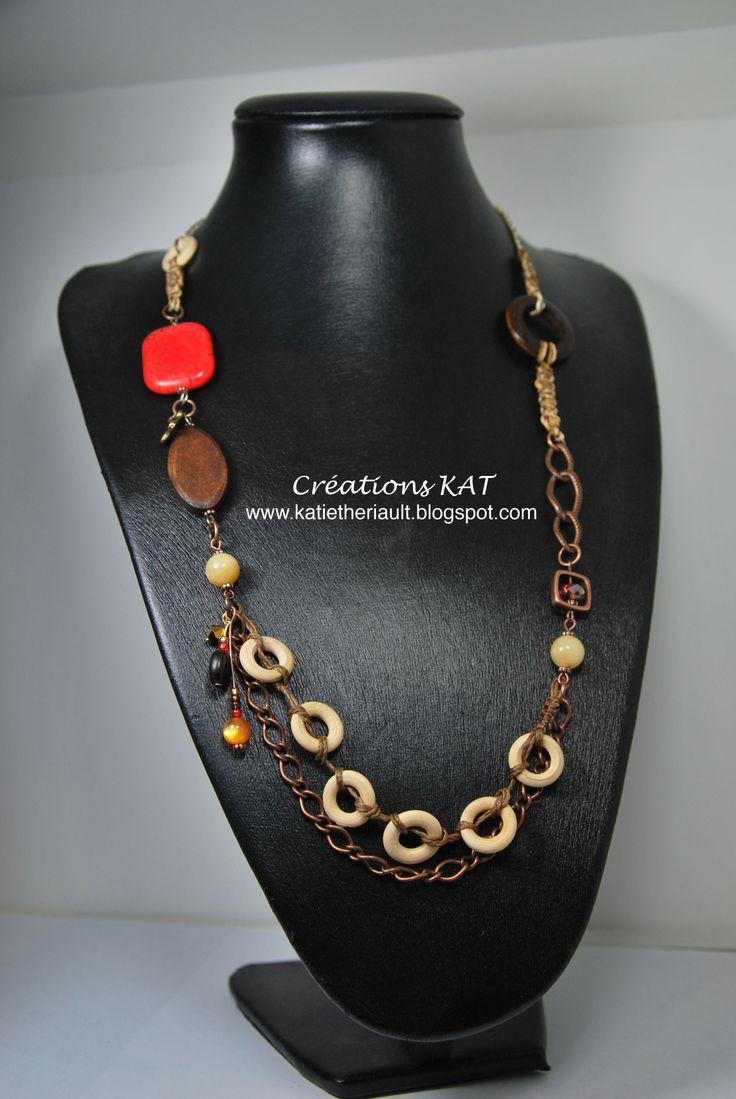 Sautoir, semi-précieuse, bois, chaine, macramé, cristaux, Créations KAT, www.katietheriault.blogspot.com