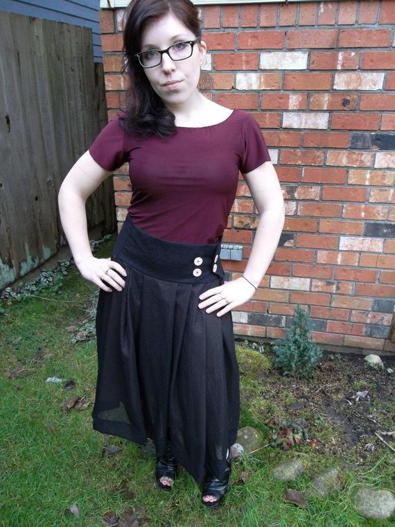 Black Shear Polka Dot Full Pleated Skirt with Button Detail