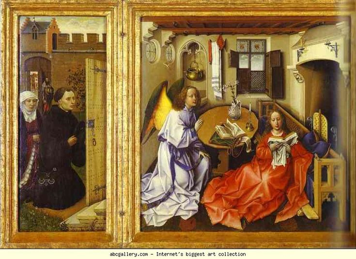Robert Campin. The Annunciation. (The Merode Altarpiece). The left and central panels of the triptych.