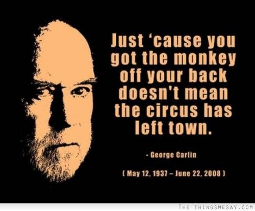 Just 'cause you got the monkey off your back doesn't mean the circus has left town - George Carlin