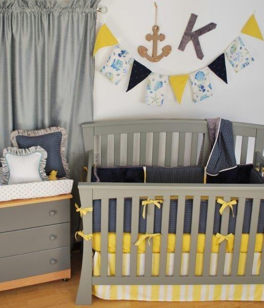 Navy Yellow Grey crib bedding
