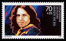 free photos cartoon leather pants rock bands | German stamp of Jim Morrison