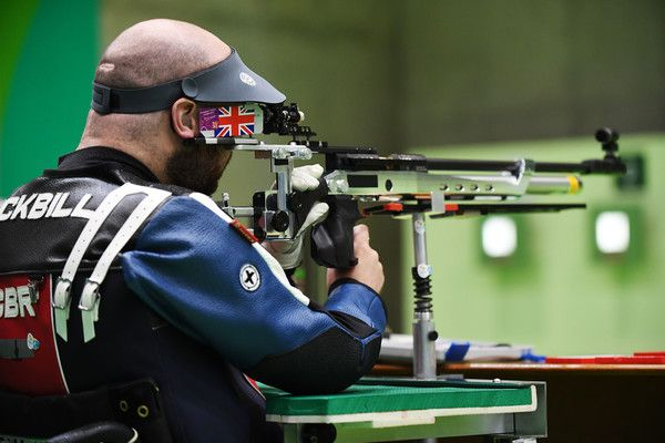 Ryan Cockbill of Great Britain competes in the mixed 10m air rifle prone SH2 on day 5 of the Rio 2016 Paralympic Games at Olympic shooting centre on September 12, 2016 in Rio de Janeiro, Brazil.
