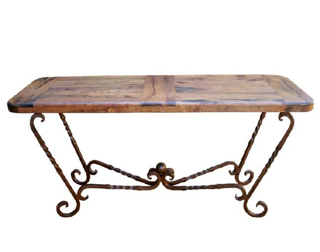 Captivating Mesquite And Iron Console Table Western Sofa Tables   Western Style Console  Table With 1 Inch