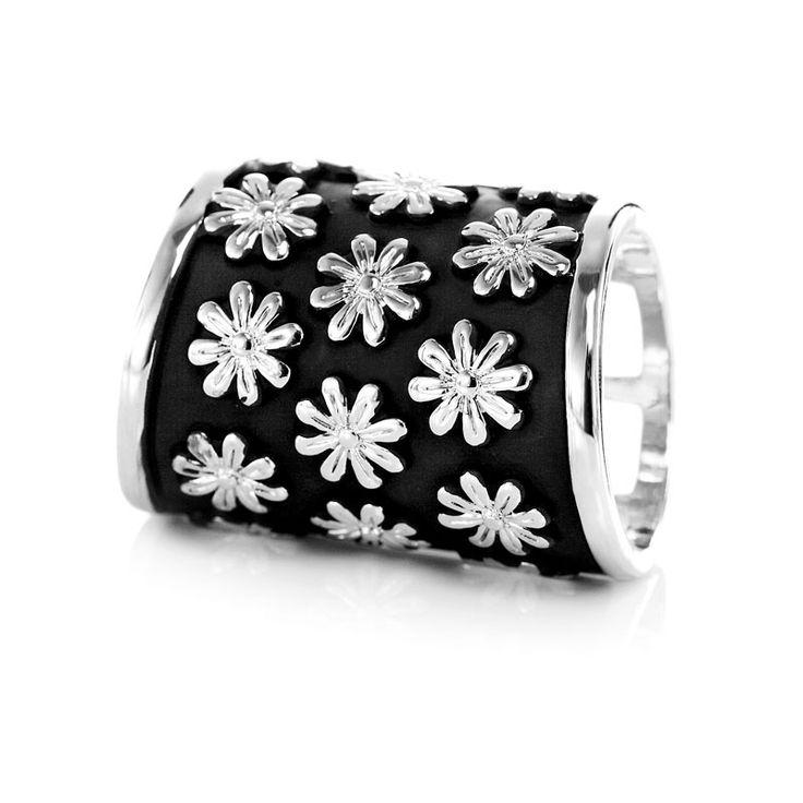 Daisy Flower Scarf Buckle Silver Lattice