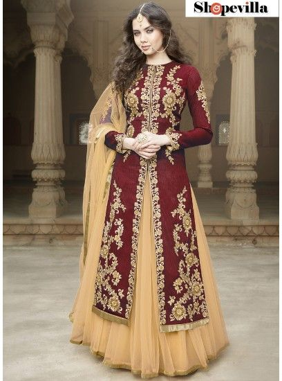 Maroon Colour Heavy Embroidery Bangalore Silk Lehenga Style Suit-1506-Maroon