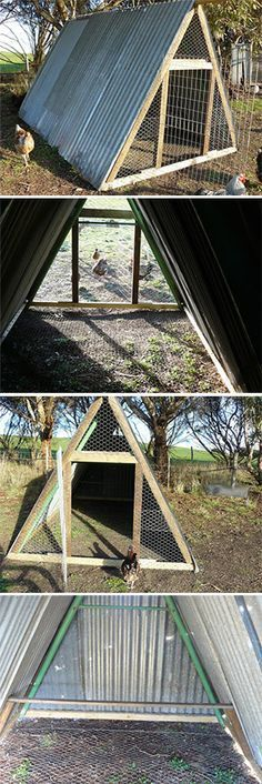 A chicken coop made from an old swing-set, wire, and corrugated metal- Genius!
