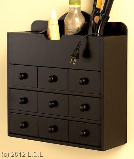 Wooden Countertop Or Wall Mount Hair Care Cosmetic Organizer Storage Cabinet