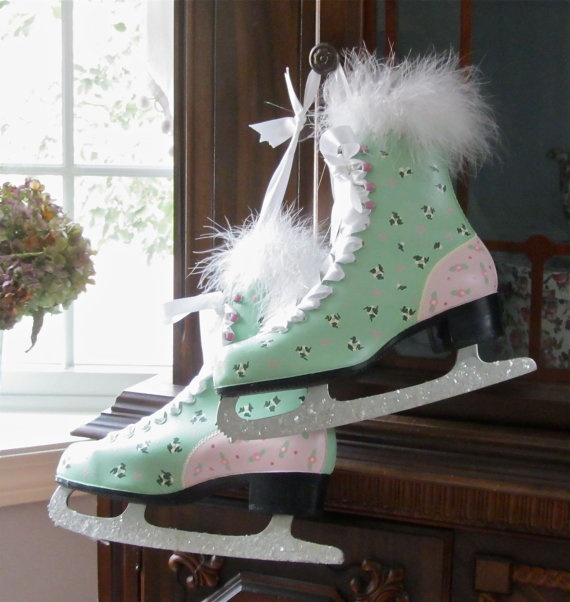 Painted Ice Skates with Glitter & Feather Trim