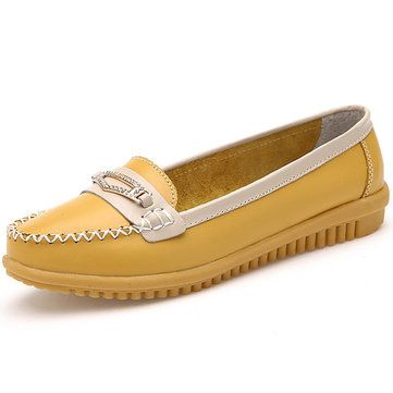 Women Casual Leather Shoes Colors Pointed Toe Flats Soft Sole Slip On Leather Loafer Shoes