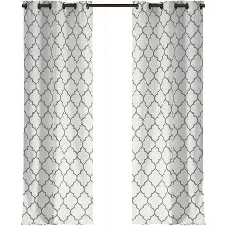 Add a pop of pattern to your living room or master suite with this lovely curtain, showcasing a geometric trellis pattern in gray.    ...