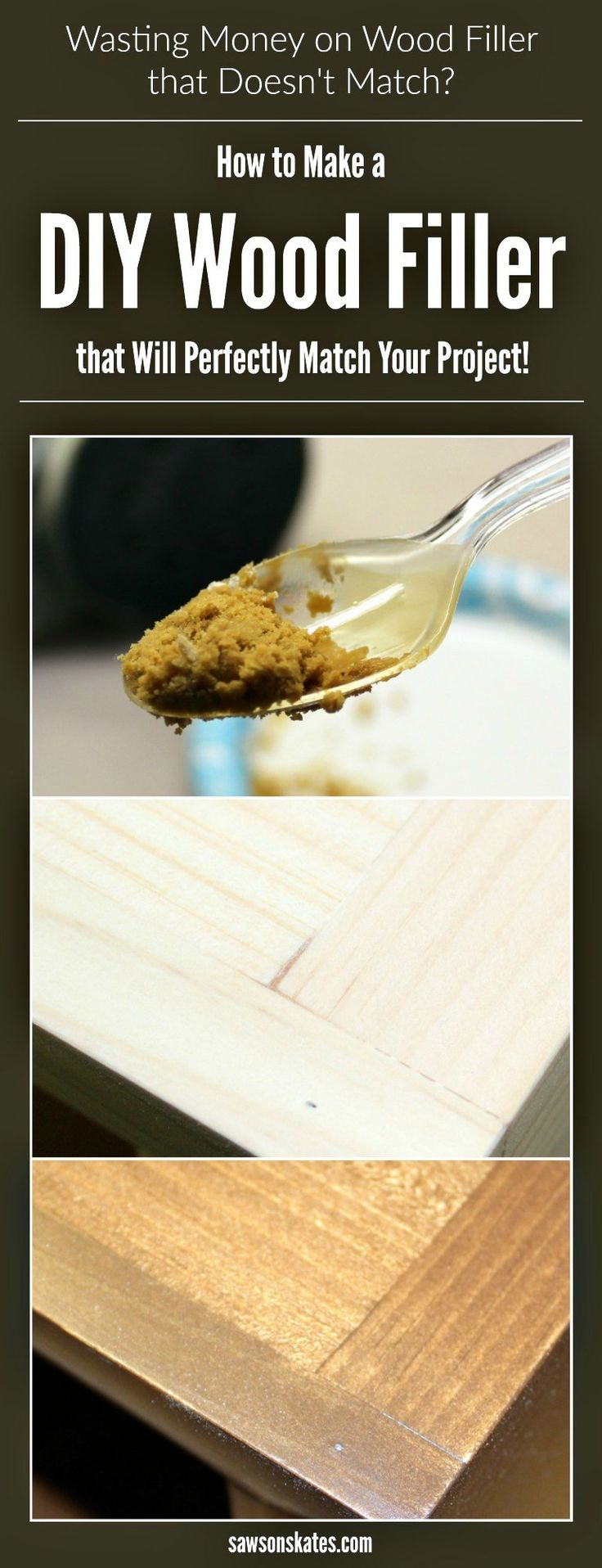 When it comes to staining DIY furniture, store bought wood fillers don't match! This tutorial shows how to make a DIY wood filler perfect for filling nail holes, cracks or gaps in wood. It only requires two ingredients, and best of all, it will match your project!
