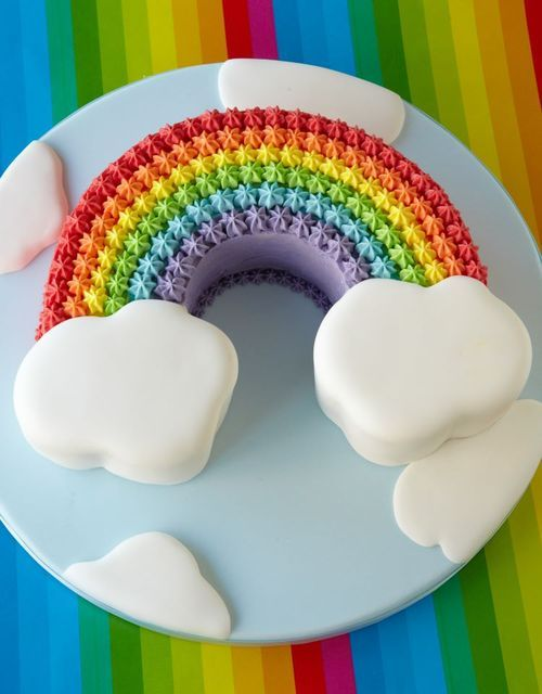 Great rainbow cake! Simple rainbow with clouds. High contrast, looks great.