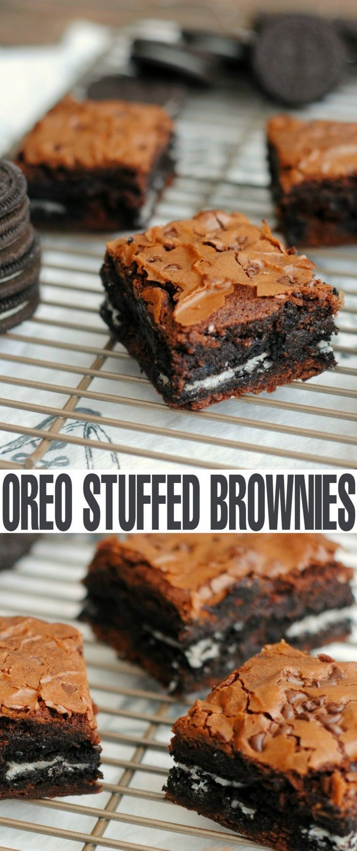 Delicious Oreo Stuffed Brownies - fudgy brownies layered with Oreos and topped with chocolate chips. Brownies don't get much better than this!: