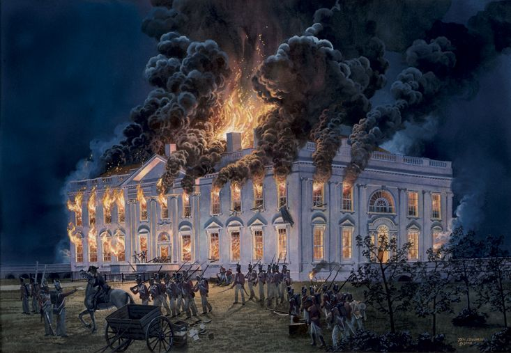 On August 24, 1814: The British captured Washington, D.C., & set fire to the White House.   The most famous fire in White House history was the result of hostilities with Great Britain, begun in 1812, culminating in the invasion of Washington on August 24, 1814.