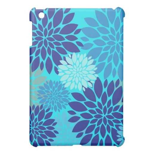Bright Teal Turquoise Blue Flower Art Floral Print Case For The iPad Mini