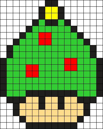 Christmas Tree Mushroom Perler Bead Pattern / Bead Sprite