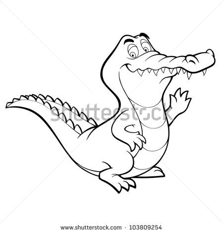 Vector Crocodile Cartoon Alligator Line Art Coloring Book Black And White Drawing Illustration