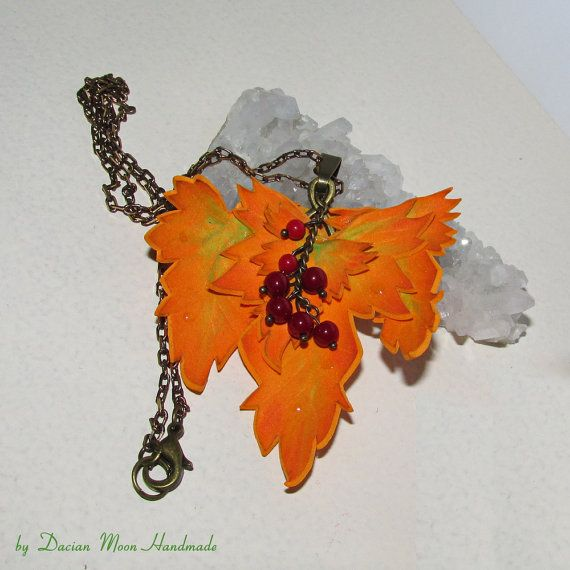 Autumn jewelry set leaves jewelry leaf by DacianMoonHandmade