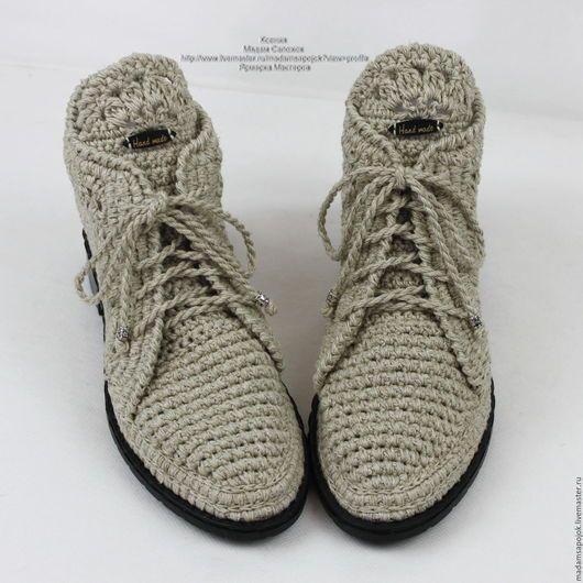Обувь ручной работы. Заказать Льняные ботиночки вязаные. Мадам Сапожок Ксения. Ярмарка Мастеров. Мокасины женские, обувь на заказ