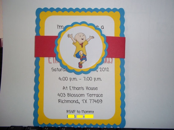 Caillou Birthday Invitations, inspired by Caillou. $10.00, via Etsy.