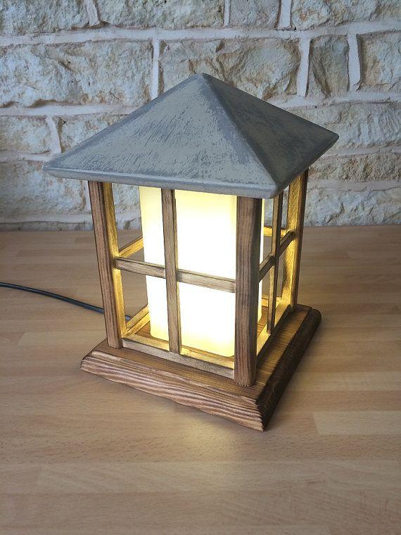 Handmade Wooden Lantern Table Lamp Decorative Light Handmade House Cabin  Shabby Chic Cottage Home Decor