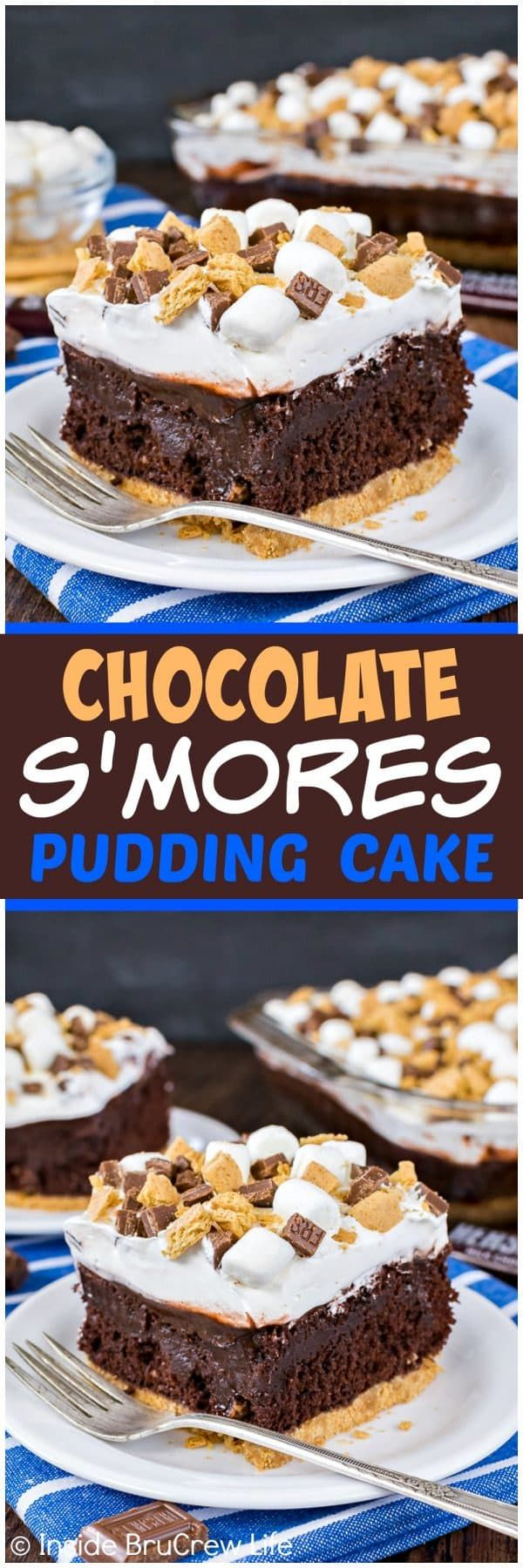 Chocolate S'mores Pudding Cake - chocolate pudding and a marshmallow topping make this gooey cake perfect for summer!  Easy and delicious recipe for picnics and parties!