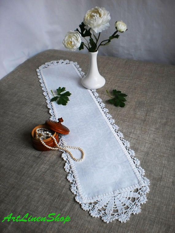 Crocheted doily Table Runner Lace doily Organic linens Shabby