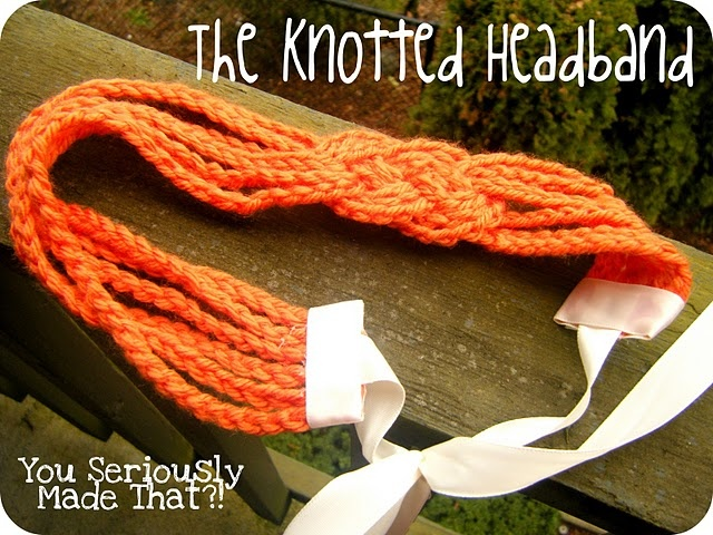 Knotted crochet headband