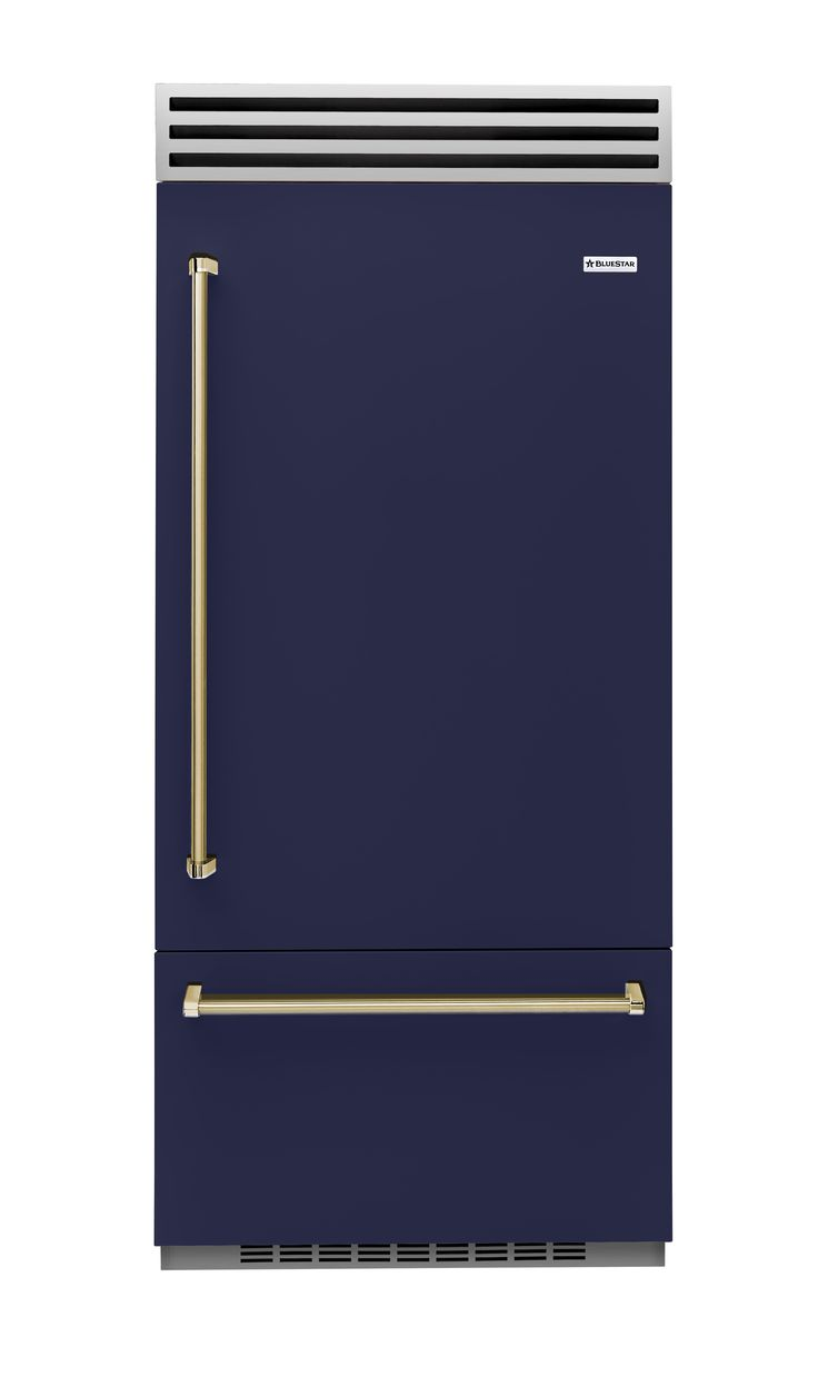 BlueStar introduced its first line of refrigerators, looking cool in this deep navy hue. bluestarcooking.com [link: http://www.bluestarcooking.com/refrigeration/36-built-in-refrigerator/]