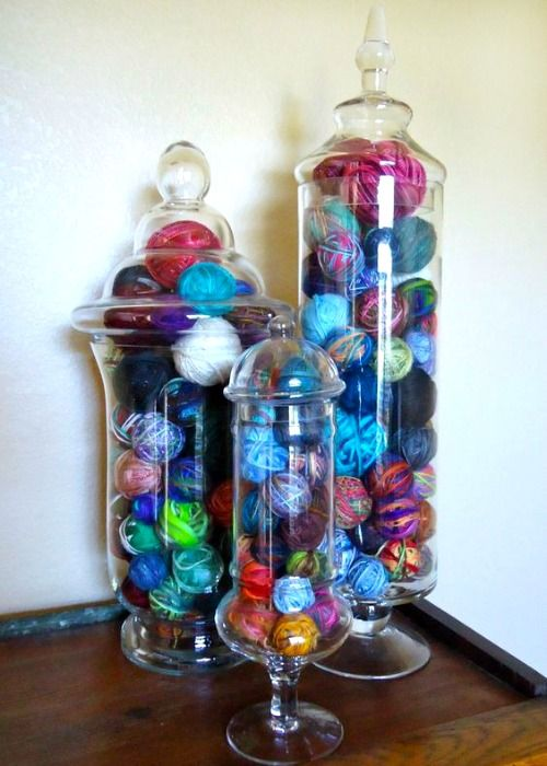 CreatiKnit | 8 Ways to Organize that Messy Yarn Stash!  Technically not a craft - but I love the idea of displaying my beautiful yarn in my regular decor.