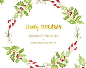 Vacanza di Holly disegnata a mano di arte di clip dell'acquerello. Inverno dell'acquerello, tenero verde rami, Poinsettia, cartoline postali, ghirlanda, arrangiamenti.