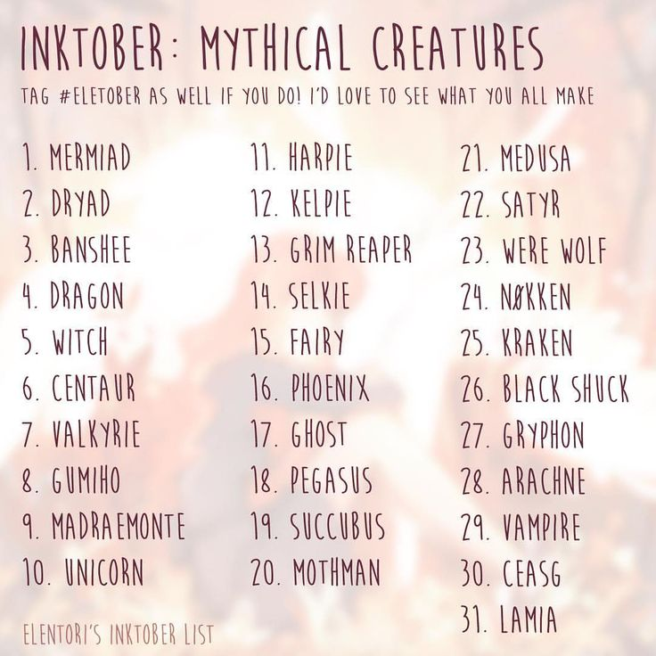 """3,183 Likes, 44 Comments - Katie (@elentori) on Instagram: """"Twitter voted for my inktober theme, and Mythical Creatures won! So here's the list I'll be using…"""""""