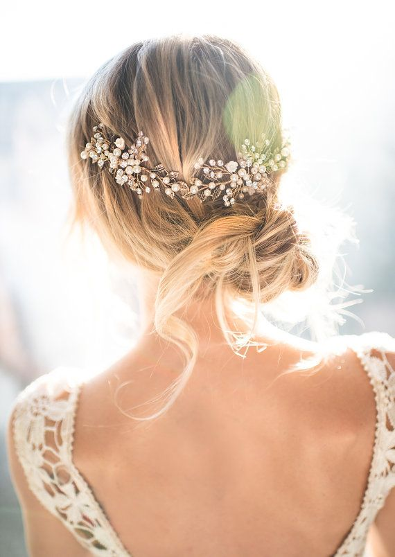 Gold Boho Hair Halo Bridal Pearl Flower Hair by LottieDaDesigns