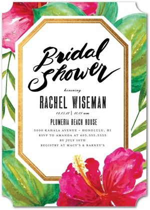 Tropical Destiny - Bridal Shower Invitations - Elk Design - Black : Front
