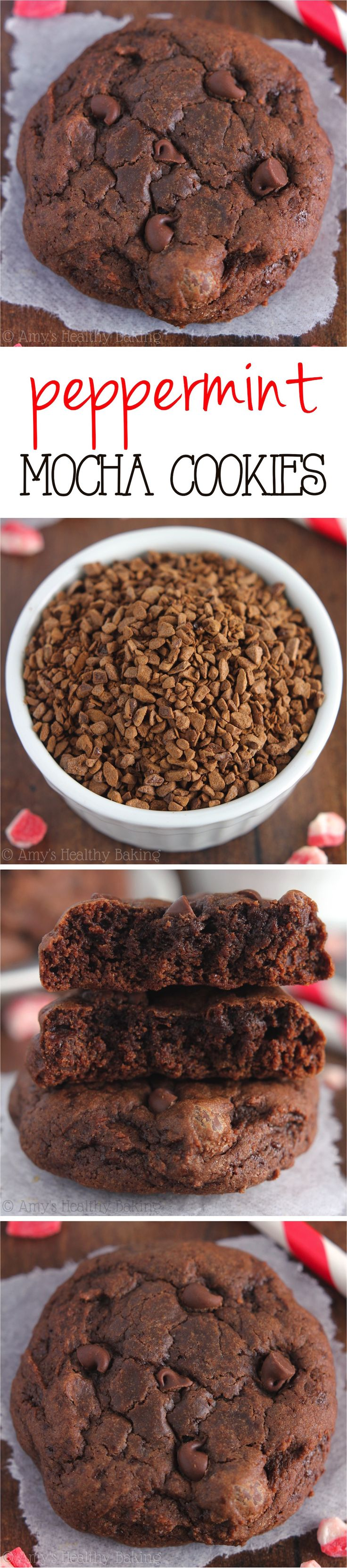 Peppermint Mocha Cookies -- like a cross between cookies & fudgy brownies with TONS of melty chocolate! Barely 100 calories, but they don't taste healthy at all!