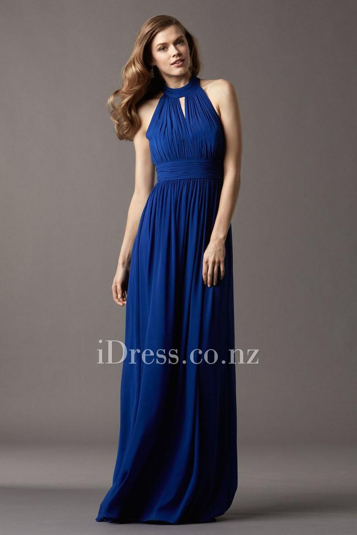 royal blue shirred keyhole funnel neck long bridesmaid dress from idress.co.nz