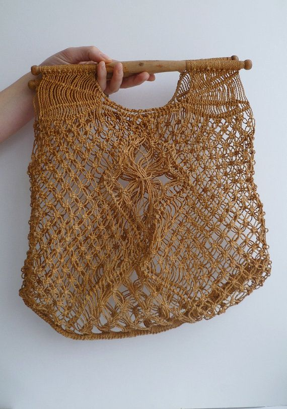 1970s macrame string bag with wooden handles. I bought mine in British Home Stores.