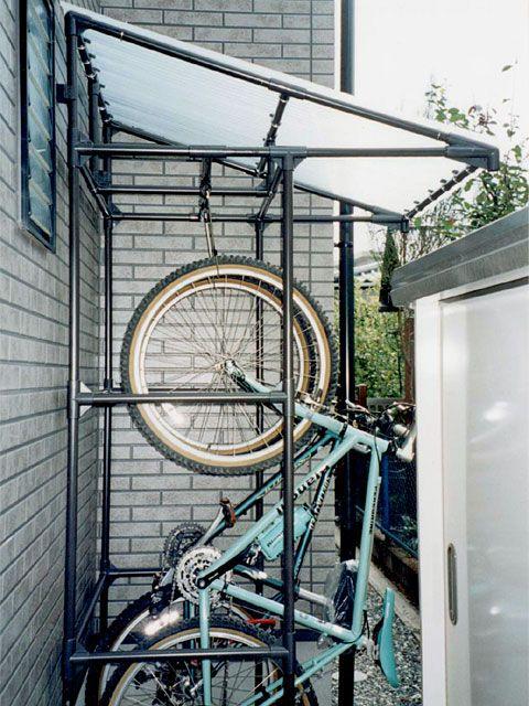 自転車の 自転車置き場 Diy パイプ で 自転車 置き場 パイプ 自転車の収納庫 自転車置き場